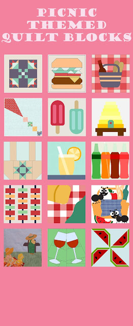 Picnic and BBQ themed quilt blocks