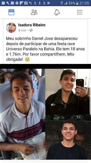 SOBRINHO DA ATRIZ ISADORA RIBEIRO ESTÁ DESAPARECIDO