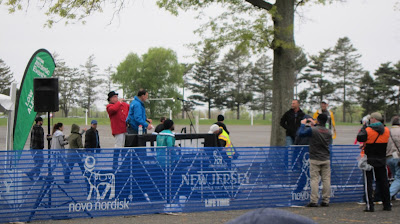 Photo of the bugler at the start of the 2016 New Jersey Half Marathon