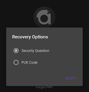 Recovery option in andrognito app