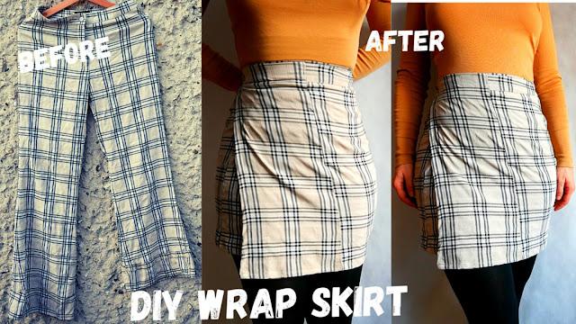 diy mini wrap skirt / beginners sewing / handmade kopertowa spódniczka