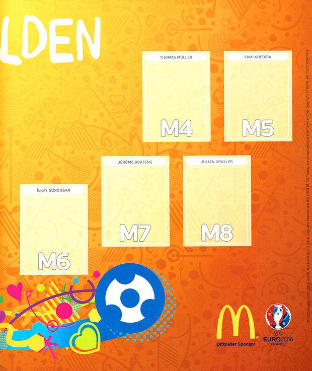 EM Euro 2016 aussuchen Alle McDonalds Einzelsticker 1-8