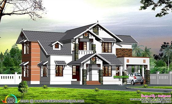 Dormer window modern sloping roof house