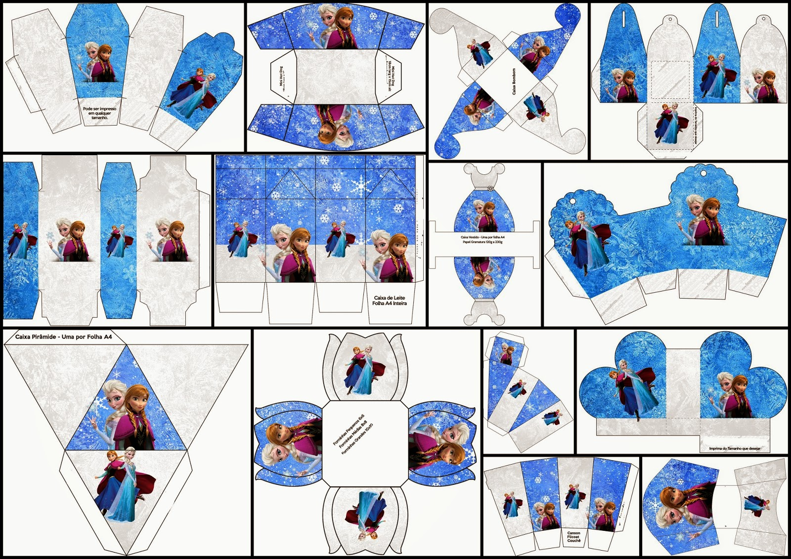 Cumpleaños de Frozen: Cajas para Imprimir Gratis.