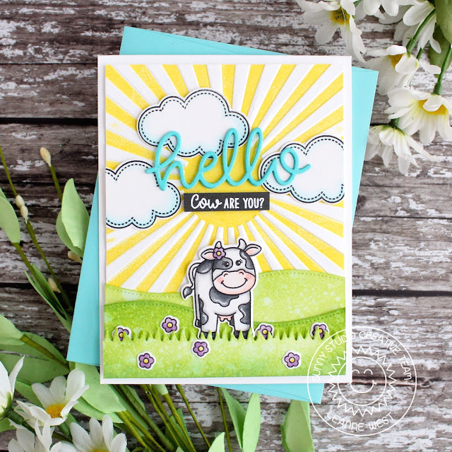 Sunny Studio Stamps: Miss Moo Sunny Sentiments Woodland Borders Hello Cards by Leanne West