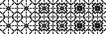 Image of a geometric pattern that increases in complexity and shading from left to right