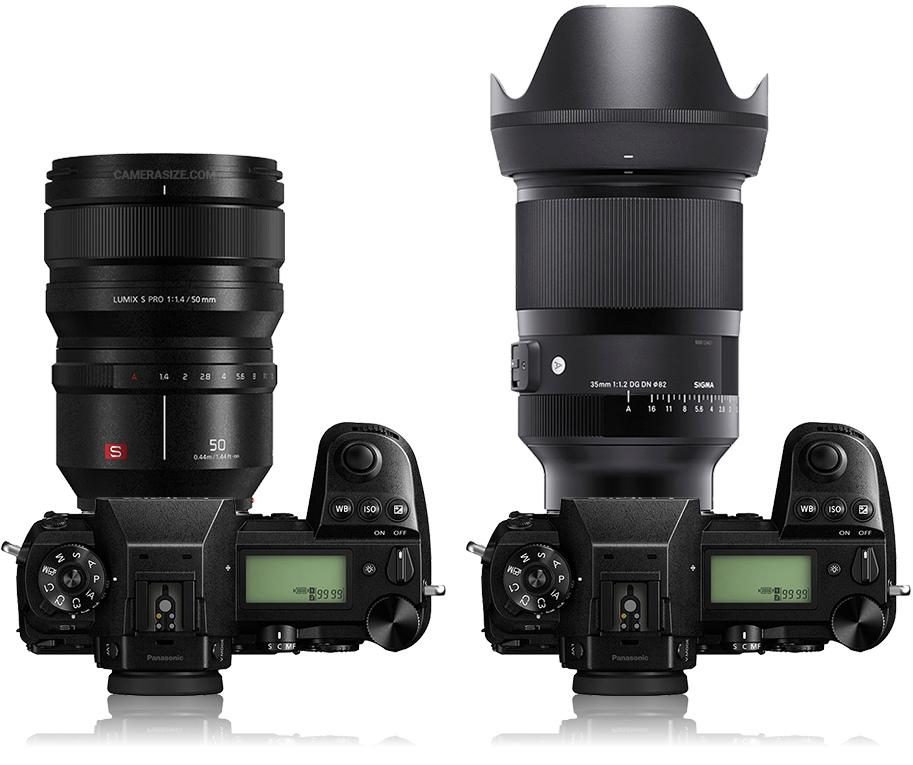 Сравнение габаритов объективов Panasonic Lumix S Pro 50mm f/1.4 и Sigma 35mm f/1.2 Art