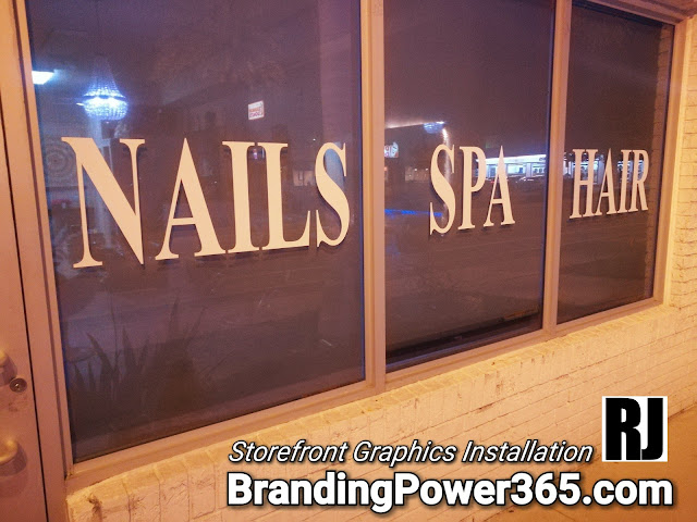 Vinyl Lettering Installation for Storefront Window for a Health and Beauty Spa in Hallandale Beach, Florida. BrandingPower365.com