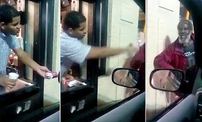 Detroit McDonald's worker threw water to a homeless old man