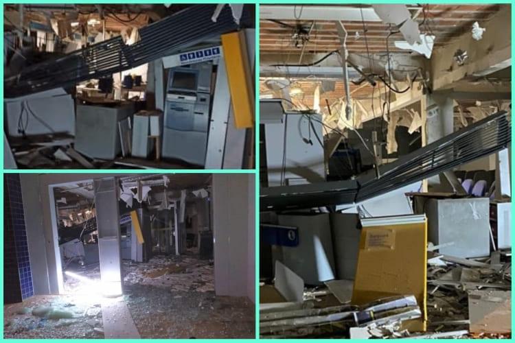 Homens armados invadem e explodem agência do Banco do Brasil em Lagoa Real