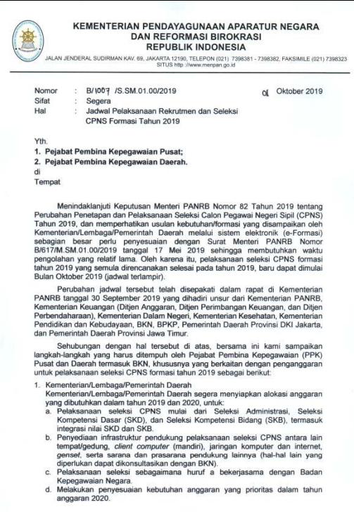 Jadwal Pendaftaran dan Seleksi CPNS Tahun 2019 – 2020 Berdasarkan Edaran Menpan