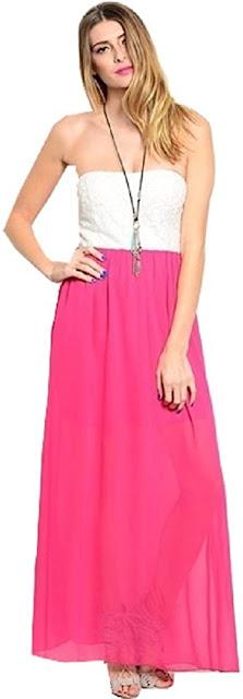 Elegant Chiffon Strapless Maxi Dresses