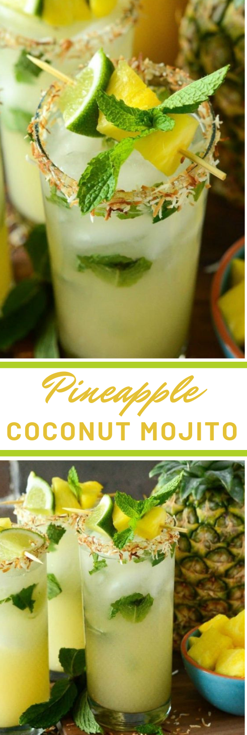 PINEAPPLE COCONUT MOJITO #smoothie #cocktail #party #healthydrink #fres