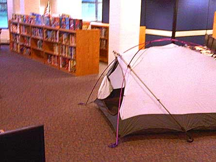 camping out in the library