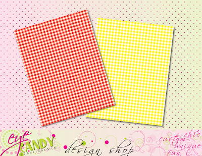 red gingham scrapbook paper, yellow gingham scrapbook paper, teacher appreciaton scrapbook paper