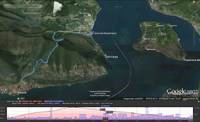 Summary of the hike from Predore to Tavernola Bergamasca created with Google Earth