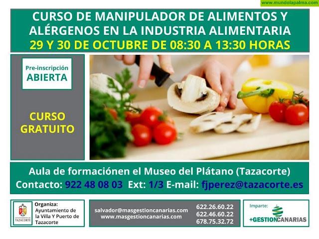 Curso de Manipulador de Alimentos y Alérgenos en la Industria Alimentaria - Tazacorte