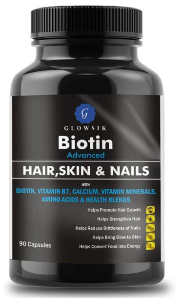 GLOWSIK BIOTIN MAXIMUM STRENGTH 10000 mcg (90- CAPSULES) with AMINO ACIDS & CALCIUM FOR HAIR, NAILS AND SKIN