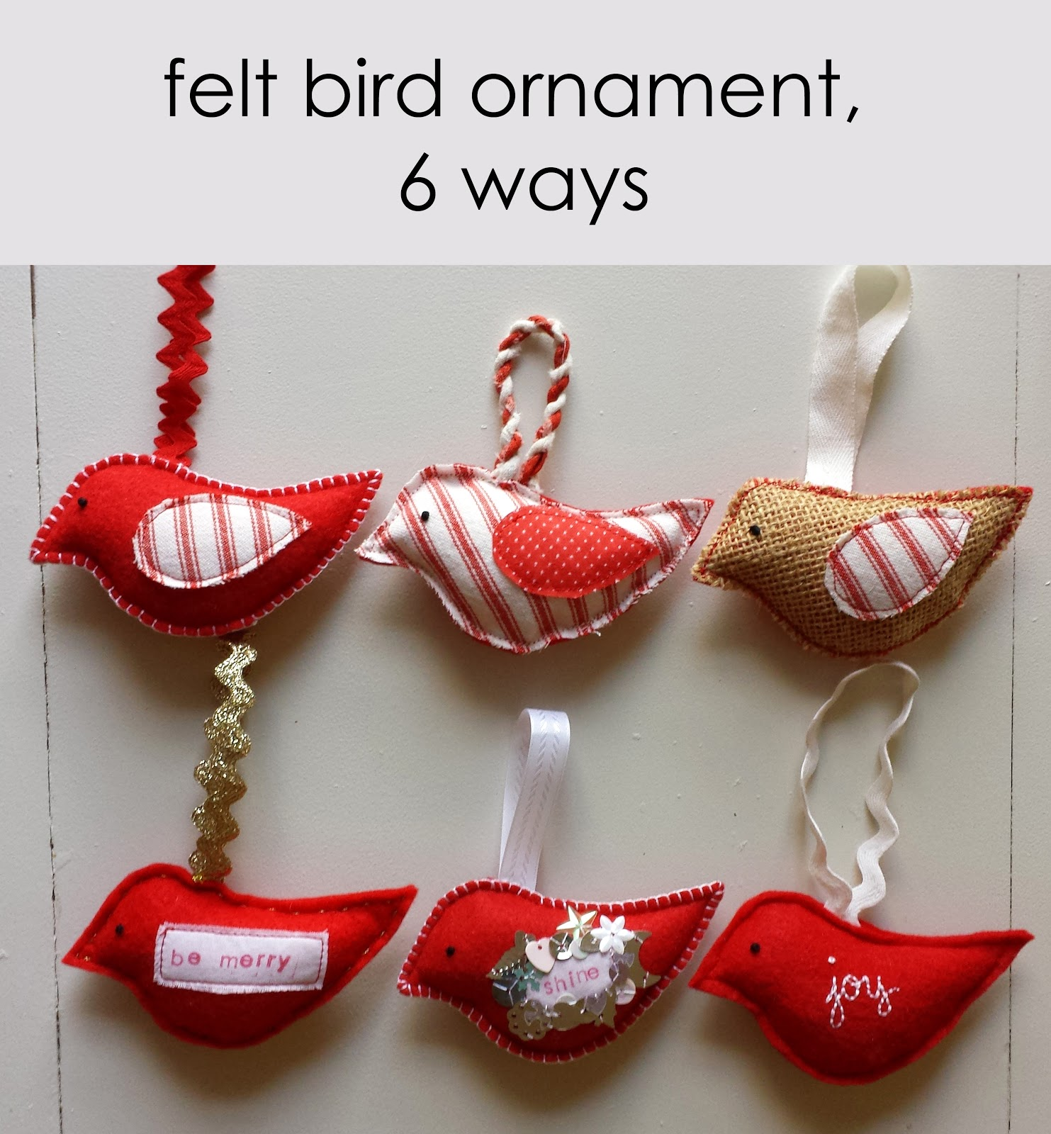 Burlap bird ornaments - Talk