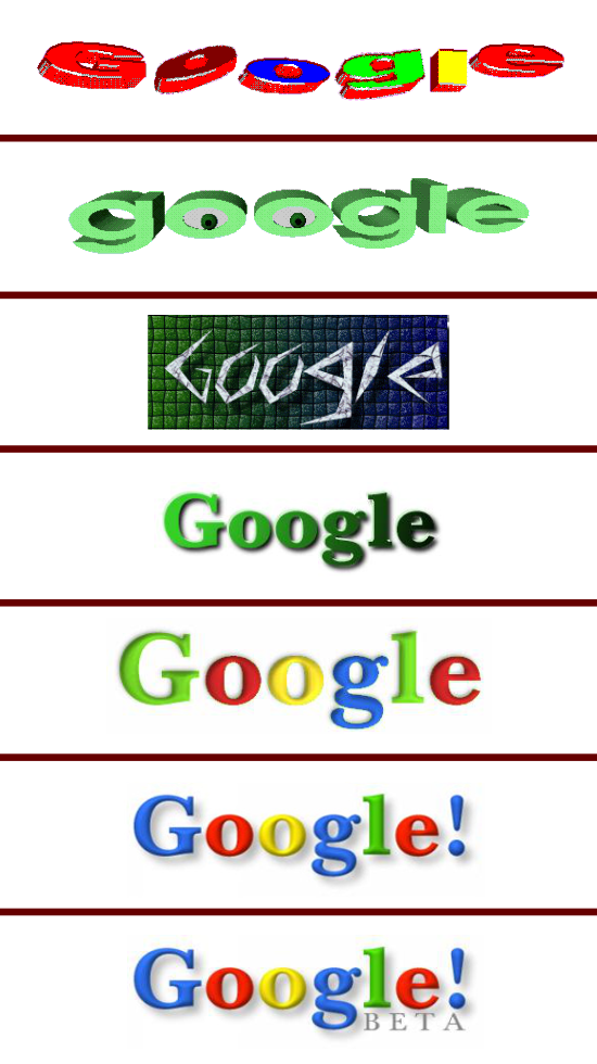 Older versions of Google logo