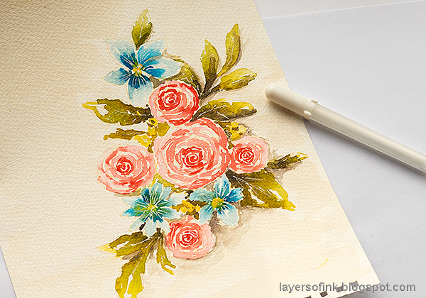 Layers of ink - Watercolor Florals Tutorial by Anna-Karin Evaldsson. Add highlights.