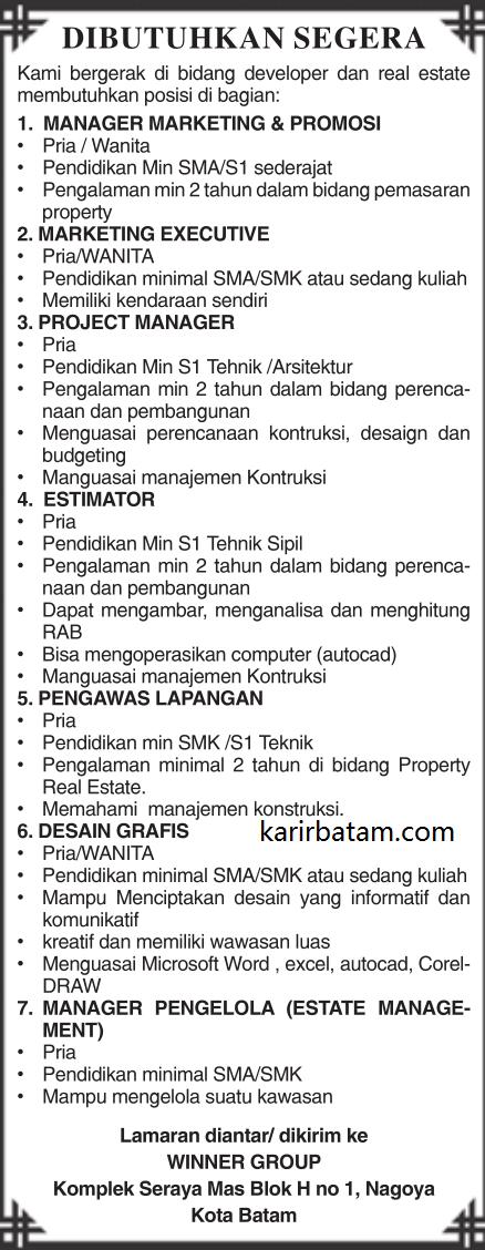 Lowongan Kerja PT. Winner Group Indonesia