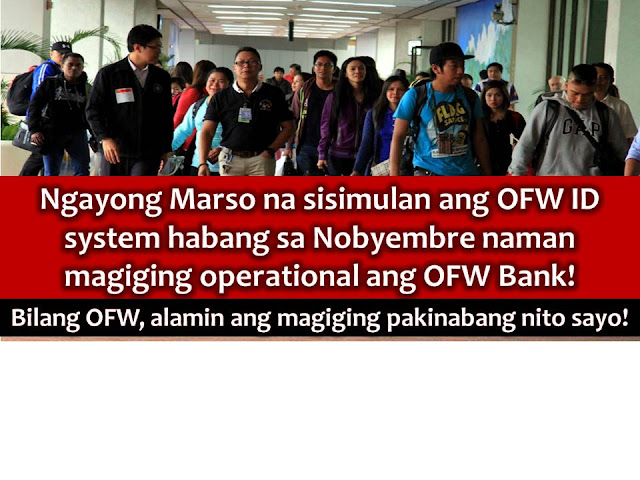 The long wait is over for Overseas Filipino Workers (OFW) who wants to have OFW ID and gearing for the implementation or operation of OFW Bank.  This is after Labor Secretary Silvestre Bello III promised to implement this remarkable projects within the year.  Next month, the OFW ID system will be launched. It is a major part of integrated DOLE System (iDOLE).  The following will be uses of OFW ID  1. To verify the identity of OFW in transacting with government agencies, the OFW Bank, and other government banks.  2. The OFW ID will link DOLE's database with the databases of the Department of Foreign Affairs, Social Security System, Commission of Higher Education (CHED), Technical Education and Skills Development Authority (TESDA), and other agencies.  3. To eradicate fake documents such us training or school certificate. The OFW ID has a capacity through online validation to know if the OFW is using authentic documents or not.  4. The OFW ID will serve as Beep card for the LRT and MRT  5. It can be used as a debit and ATM card for banks