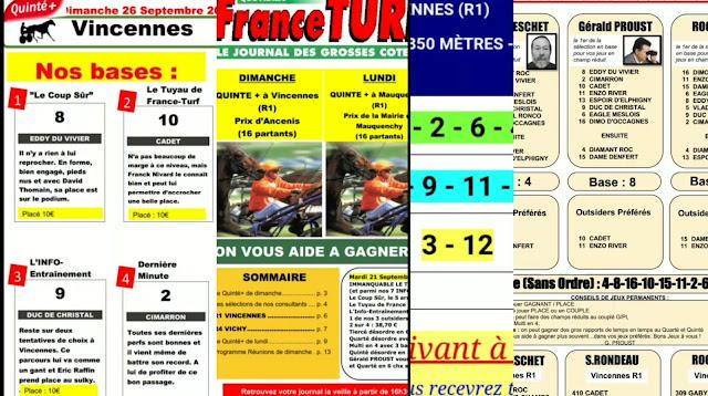 Pronostic quinté+ pmu dimanche Paris-Turf TV-100 % 26/09/2021