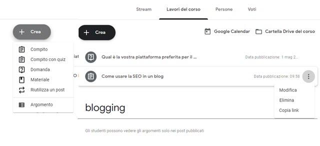 lavori del corso in google classroom con compiti domande