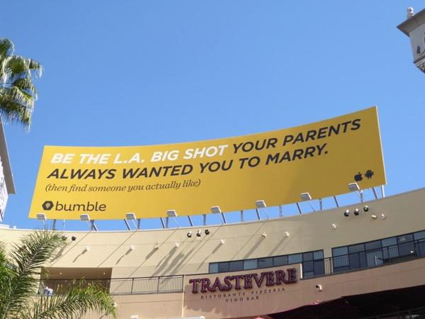 LA big shot parents marry Bumble billboard