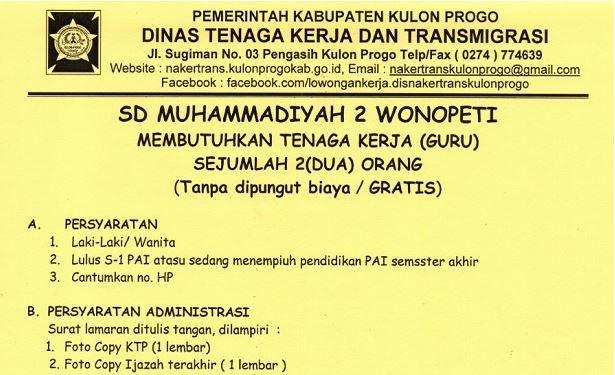 Lowongan Kerja Guru Sd Muhammadiyah 2 Wonopeti Ora Minggir