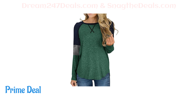 50%off Women's Color Block Round Neck Tunic Tops Casual Long Sleeve Shirt Blouse