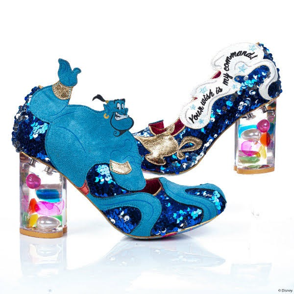 blue sequins genie shoe in foreground with magic lamp shoe in background
