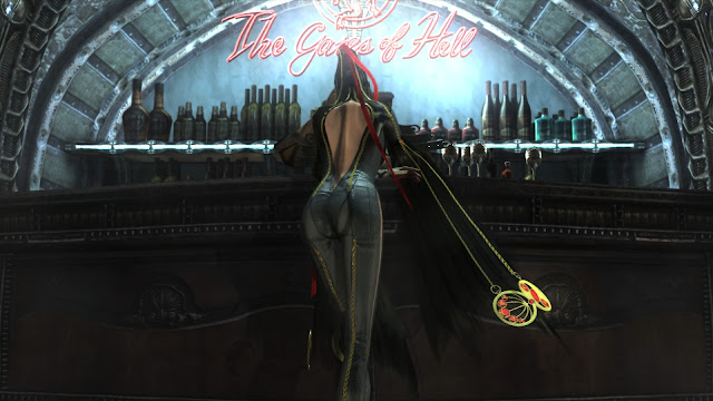 Bayonetta is in the gates of hell which is a bar where she gets her upgrades.
