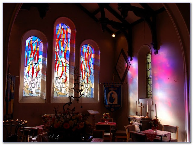 stained glass arched window patterns