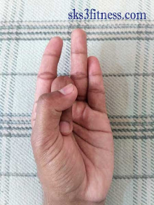 A hand showing Shunya mudra /Psychic gesture of void or empty
