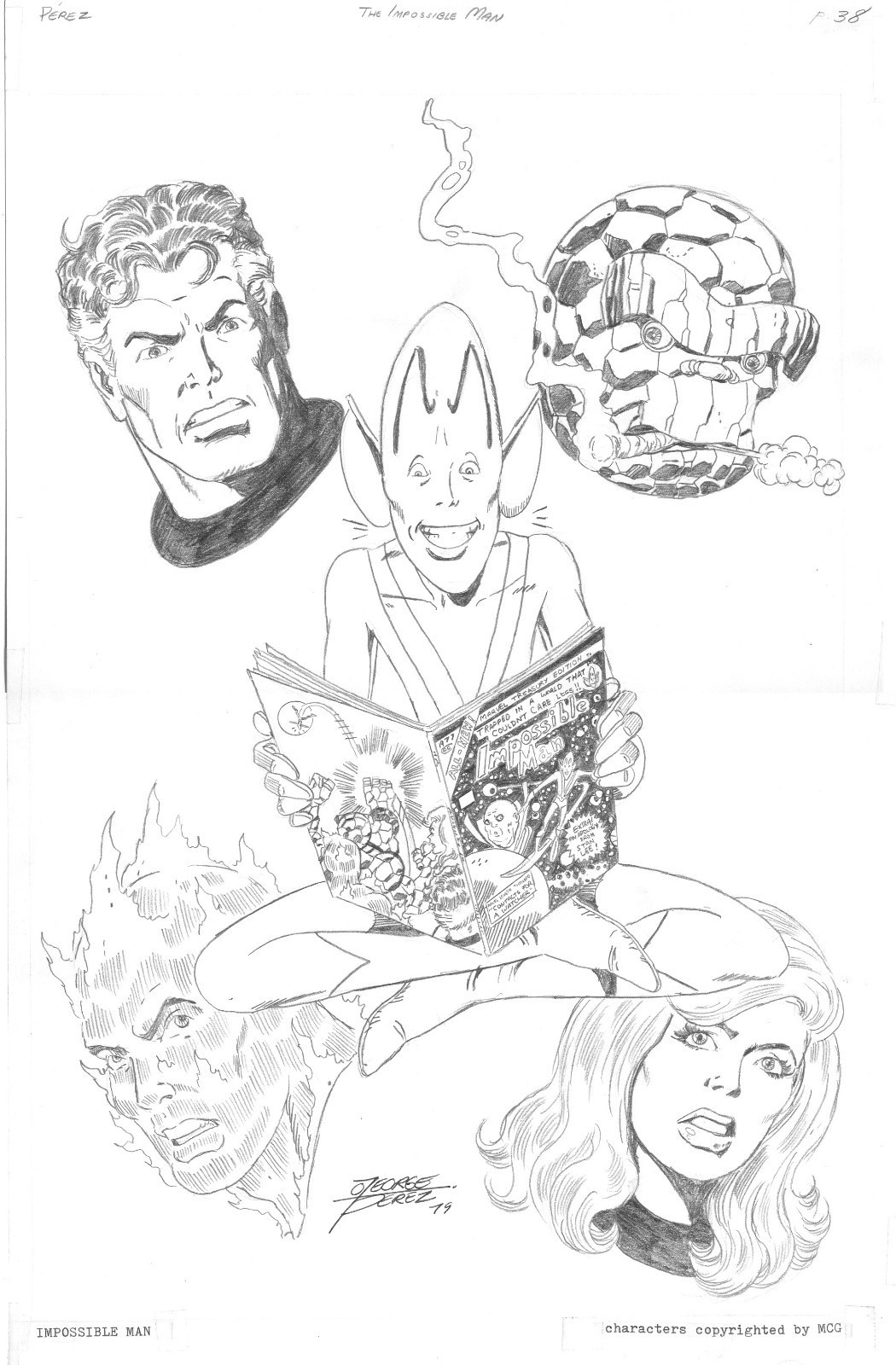 Black Amp White And Bronze George Perez Convention Sketches