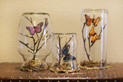 Spring summer season craft butterfly embellishments in glass jars