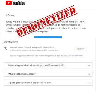 monetisasi youtube ditolak