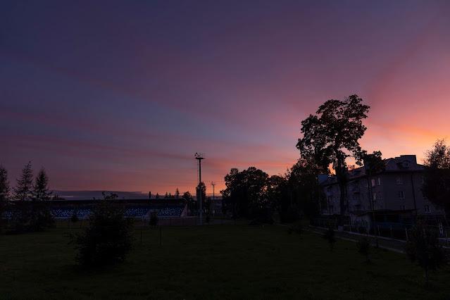 Shchuchin view of the stadium sunset Indian summer