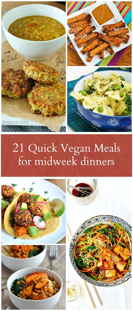Do you need quick and easy vegan dinners midweek? Speed things up with 21 tasty and quick vegan midweek meals. #quickvegan #quickveganmeals #quickmeals #vegan #vegandinners #veganmeals #midweekmeals #bestvegan