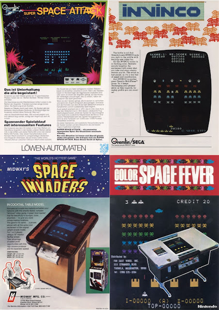 Four fliers advertising the original Space Invaders and three of its arcade clones.