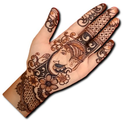 Ganpati Mehndi Design for Front Hand