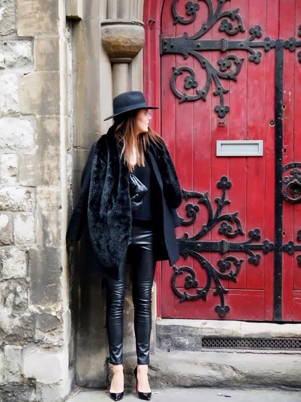 Fedora, Coat, Chanel Handbag, Leather Leggings, Christian Louboutin Pigalle Stilettos, Mayfair