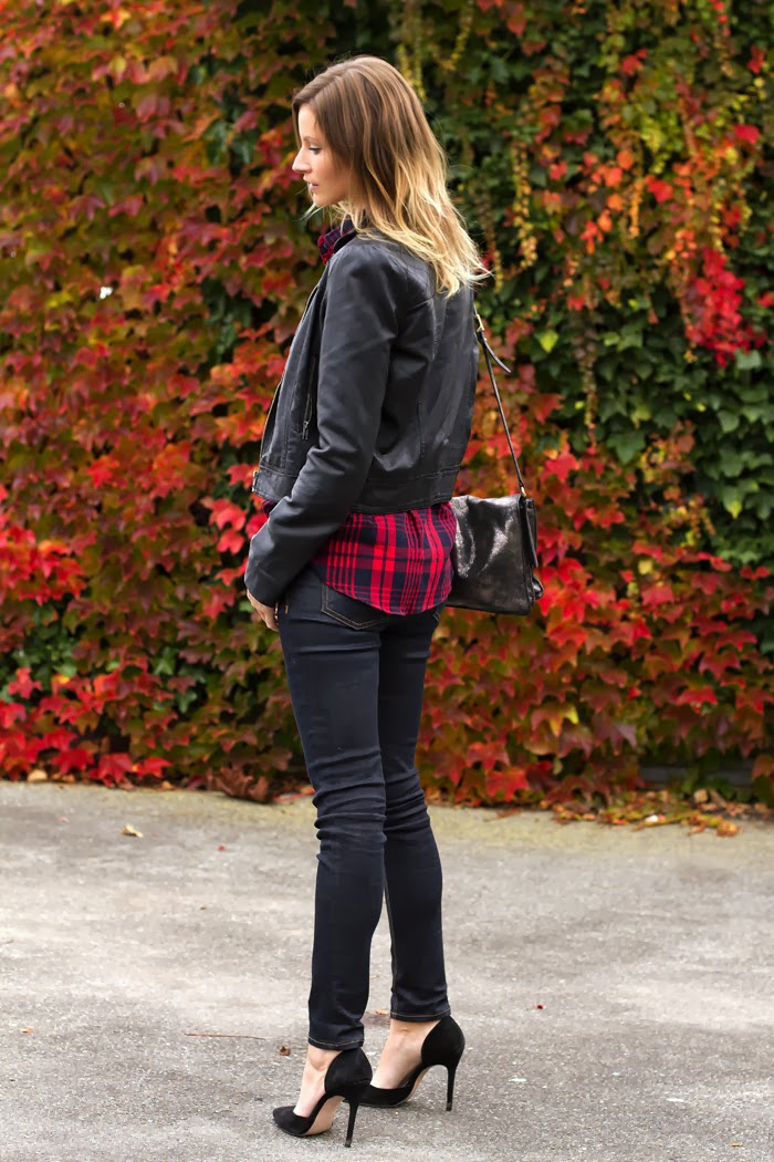 Vancouver Fashion Blogger, Alison Hutchinson, is wearing a Zara plaid top, Forever 21 leather jacket, Rag & Bone Jeans, Zara heels and a silver botkier valentina bag