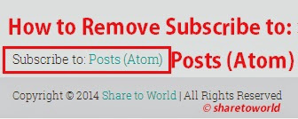 How to Remove Subscribe to: Posts (Atom)