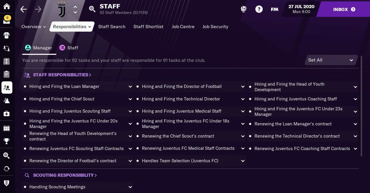 Staff Responsibilities Football Manager 2021