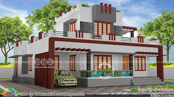 5 bedroom modern decorative style flat roof house