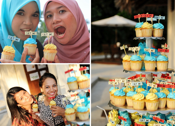 wedding cakes blue and yellow eat me