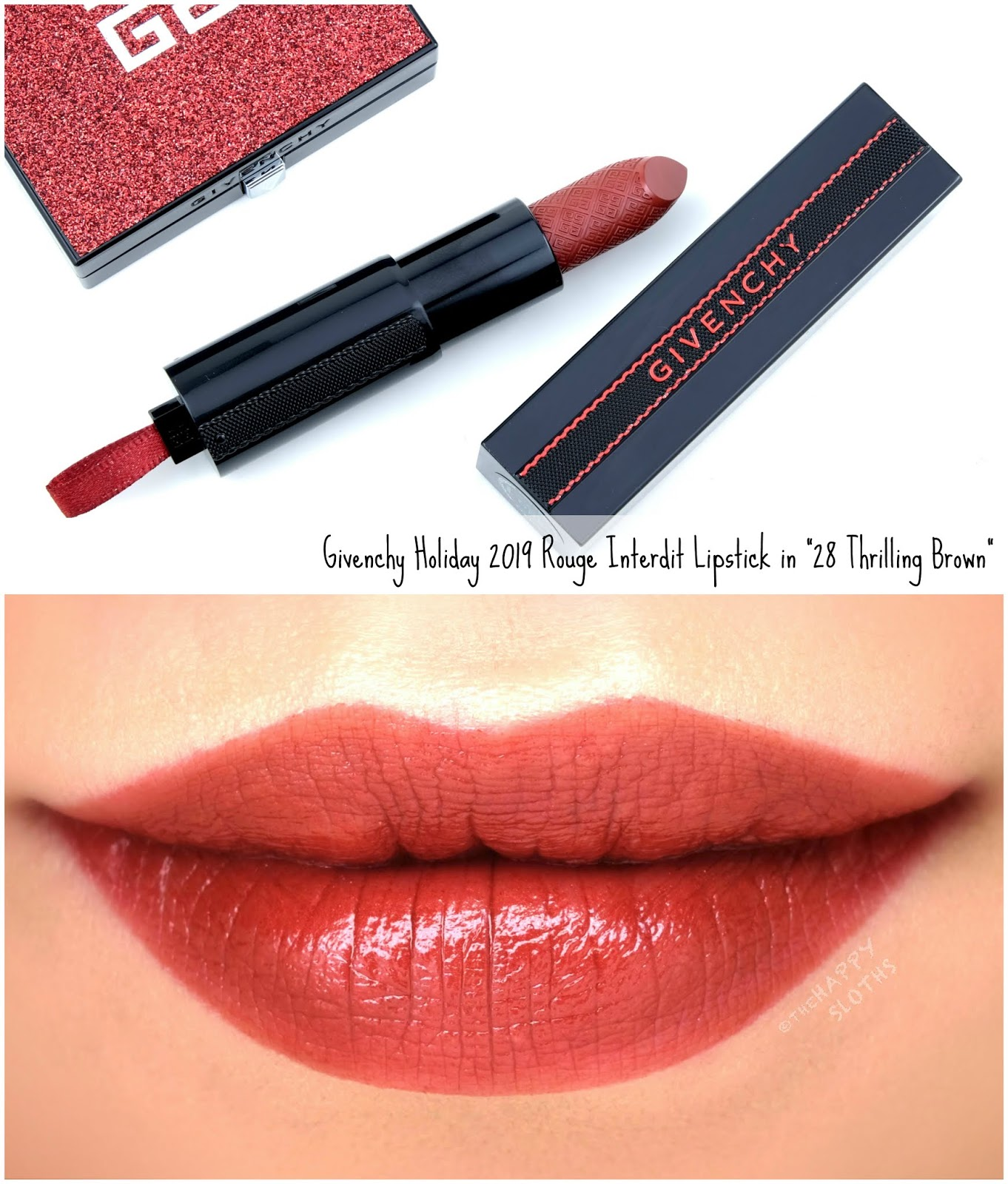 "Givenchy Holiday 2019 Red Line Collection | Rouge Interdit Satin Lipstick in ""28 Thrilling Brown"": Review and Swatches"